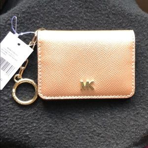 AuthenticMichael Kors leather key ring card holder